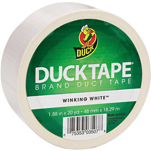 "Duck Brand 1.88"" x 20 yd Colored Duct Tape, 3"" Core, White"