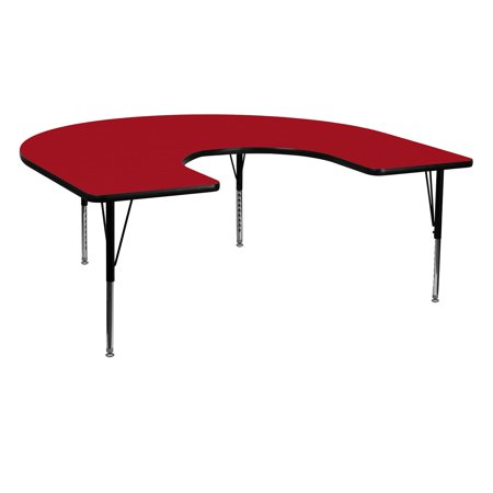 Horseshoe Table Decorations (Flash Furniture 60''W x 66''L Horseshoe Shaped Activity Table with Red Thermal Fused Laminate Top and Height Adjustable Preschool)