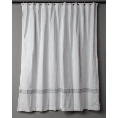 Rizzy Home Cable Designed Embroidery Shower Curtain 72X72 In White Color