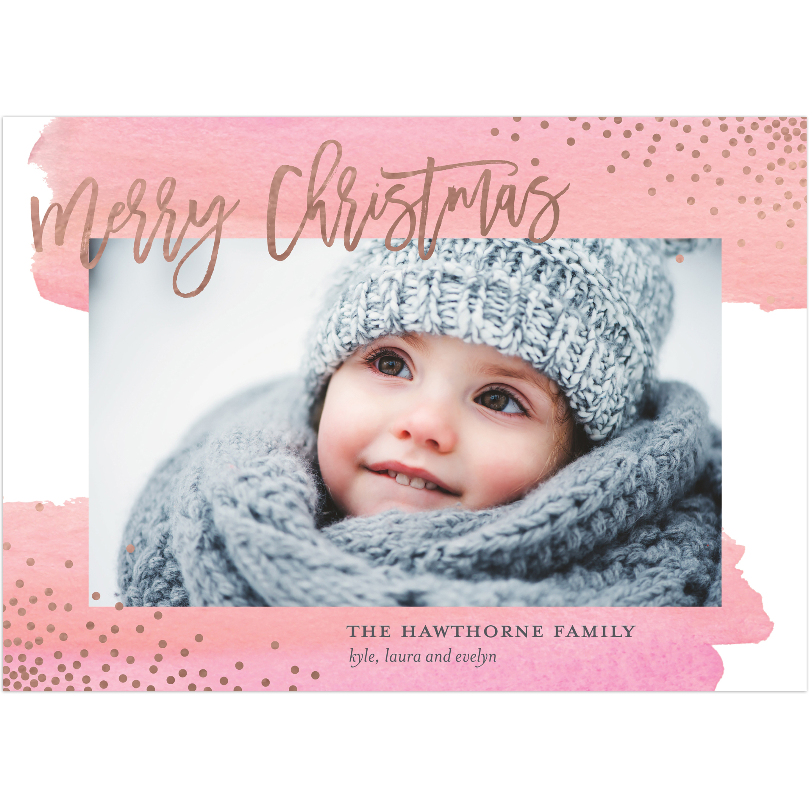 Watercolor Christmas - 5x7 Personalized Christmas Card