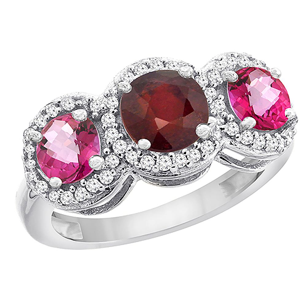 14K White Gold Enhanced Ruby & Pink Topaz Sides Round 3-stone Ring Diamond Accents, size 5.5 by Gabriella Gold