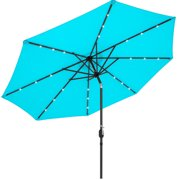 Best Choice Products 10ft Solar LED Lighted Patio Umbrella w/ Tilt Adjustment, Fade-Resistant Fabric - Light Blue