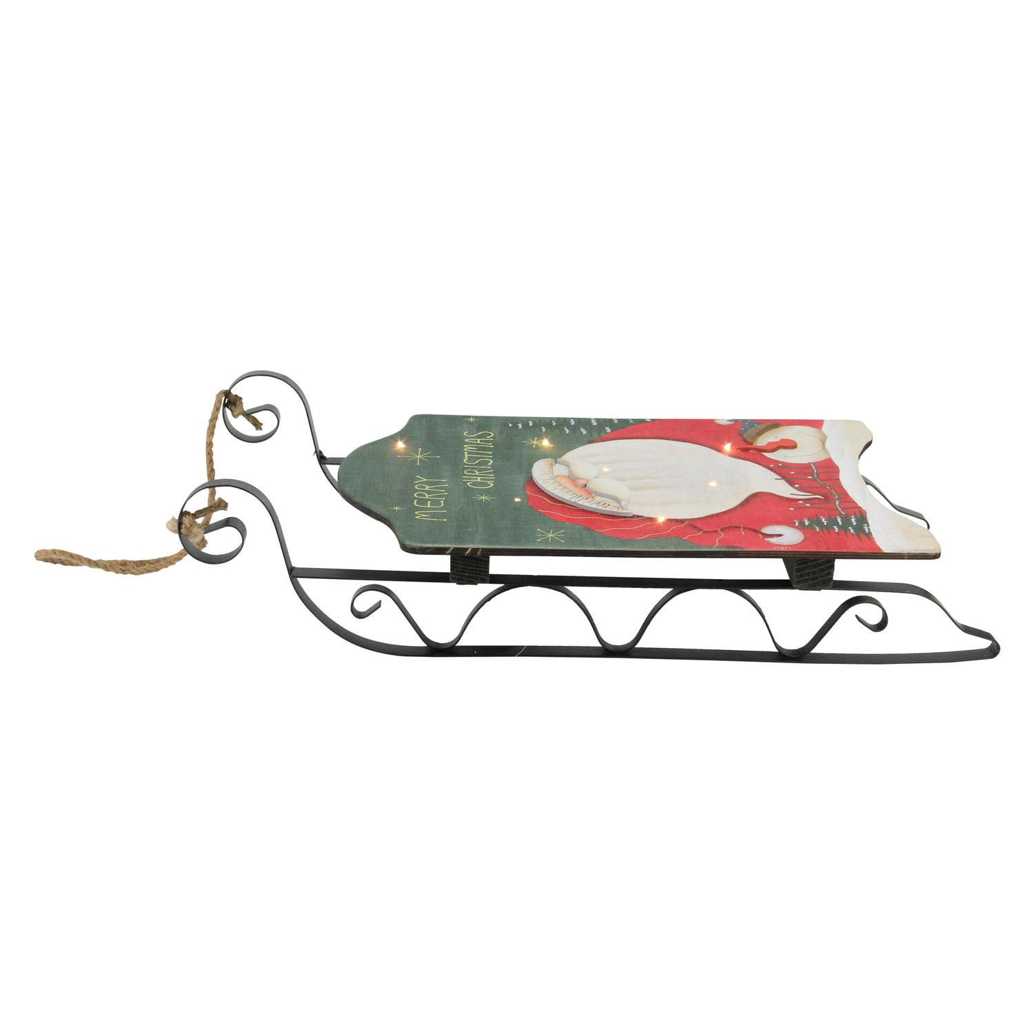 """19.5"""" Hanging Wooden and Metal Santa Claus LED Decorative Christmas Sleigh - image 1 of 2"""
