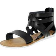 Blowfish Women's Ella Black Ankle-High Synthetic Sandal - 7.5M