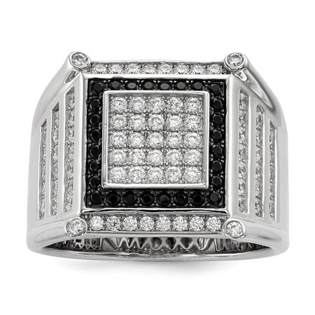 Sterling Silver and Cubic Zirconia Brilliant Embers Black And White Mens Ring - Ring Size: 9 to 11