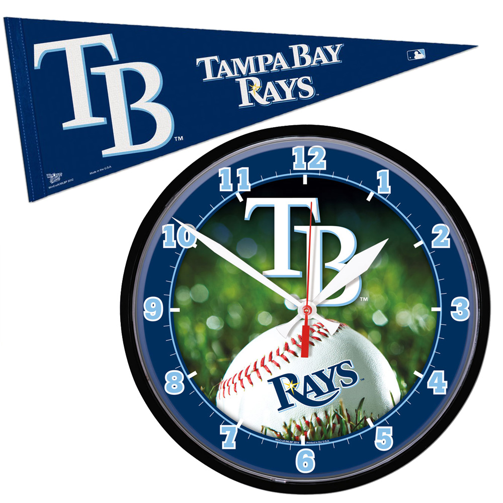 Wincraft WIN-TBR-CLKPN-14 Tampa Bay Rays Mlb Round Wall Clock And Pennant Gift Set WINTBRCLKPN14