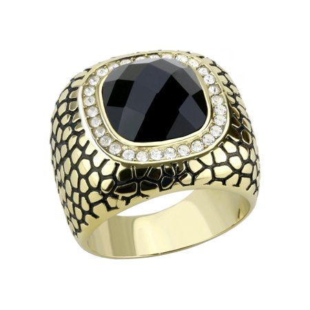 Big 12x12mm Black Synthetic Multiple Cut Stone Set in Gold IP Stainless Steel Mens Ring - Size 12 (Mens Full Stone)