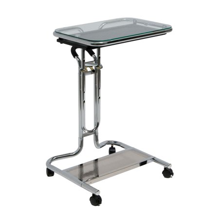 Patient Tray Cart - Calico Designs Laptop Cart with Tray in Chrome with Clear Glass