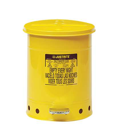 Justrite 9301 10 Gal. Oily Waste Can, Steel