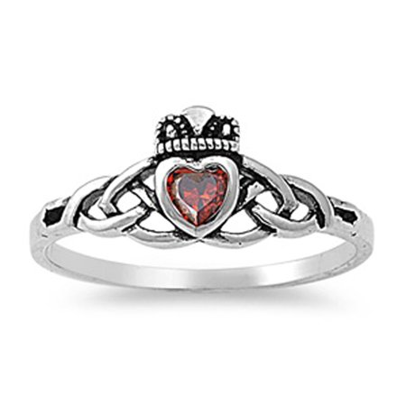 - CHOOSE YOUR COLOR Simulated Garnet Celtic Knot Antiqued Claddagh Ring 925 Sterling Silver Band