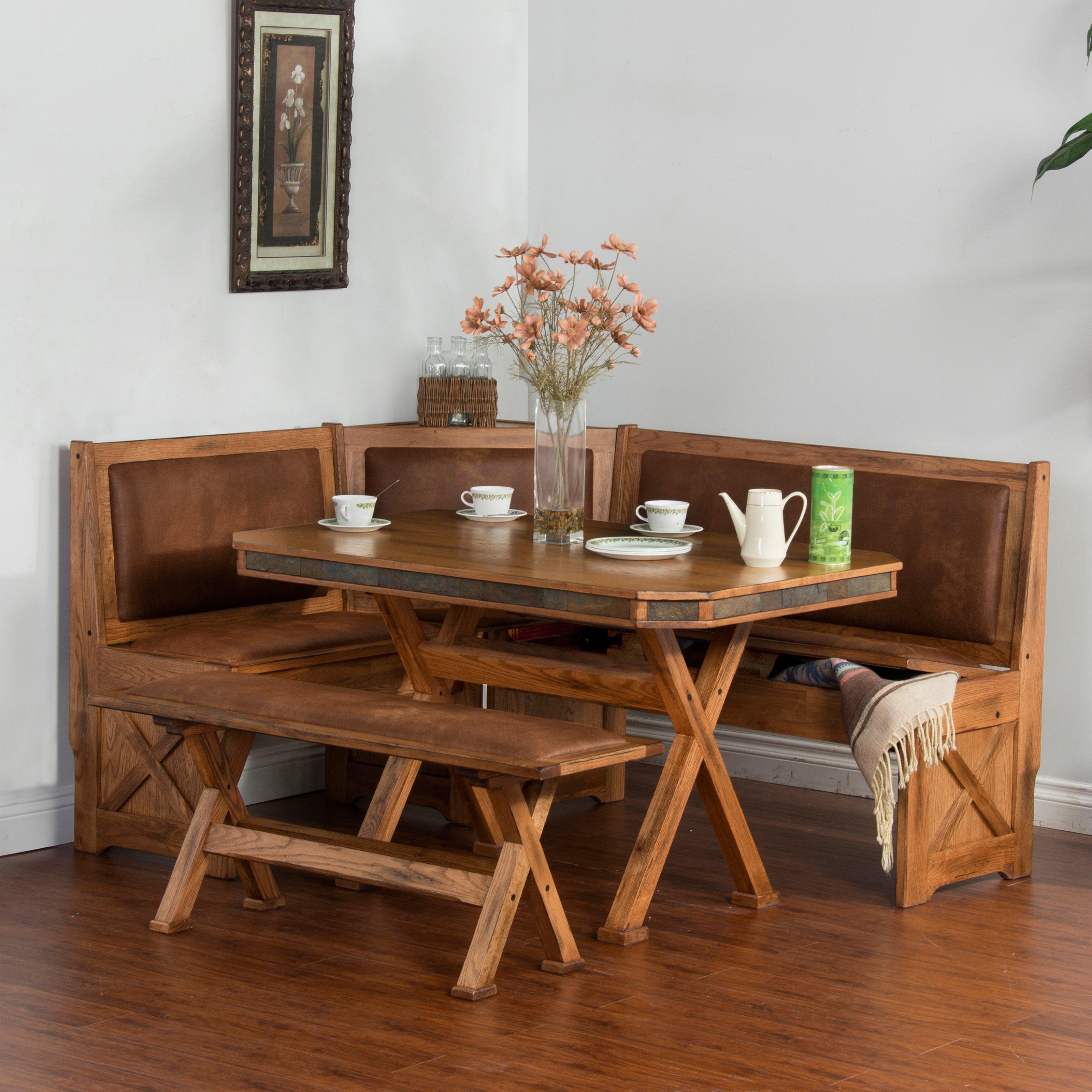 Sunny Designs Sedona 4 Piece Breakfast Nook Set with Side...