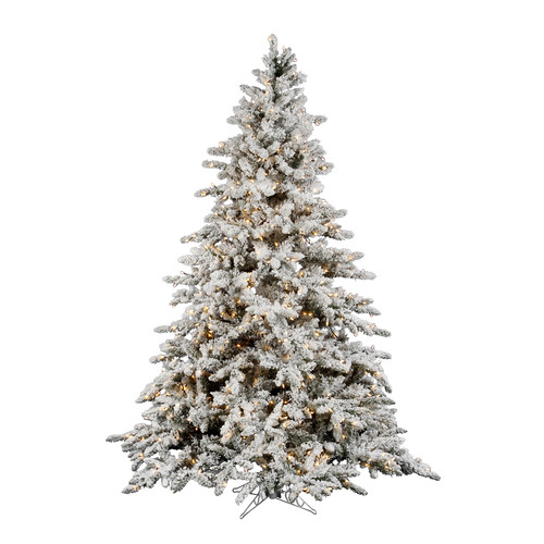 Vickerman Flocked Utica 7.5' Green Fir Artificial Christmas Tree with 850 Dura-Lit Clear Lights with Stand