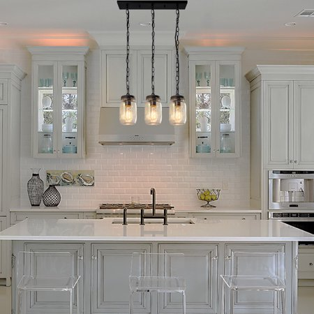LNC Faux-Wood Pendant Lighting, Farmhouse Island Light with Clear Glass Shade for Kitchen Island, Foyer, Entry and Dining