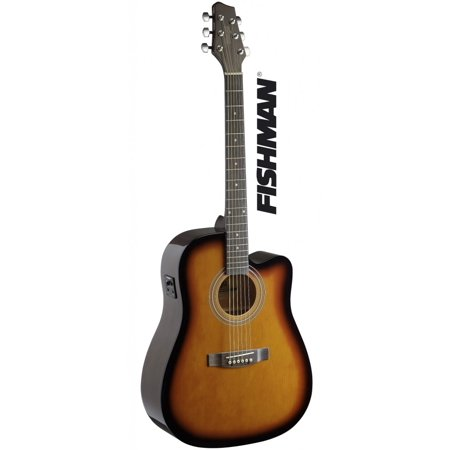 Stagg SA40DCFI-BS Dreadnought Cutaway Acoustic-Electric Concert Guitar - Brown