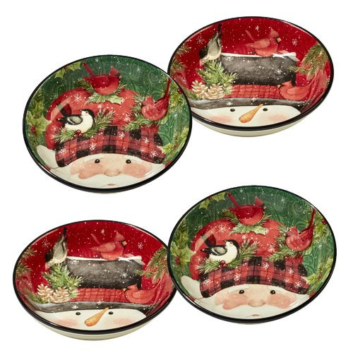 The Holiday Aisle 4 Piece Winter's Plaid Pasta Bowl Set by