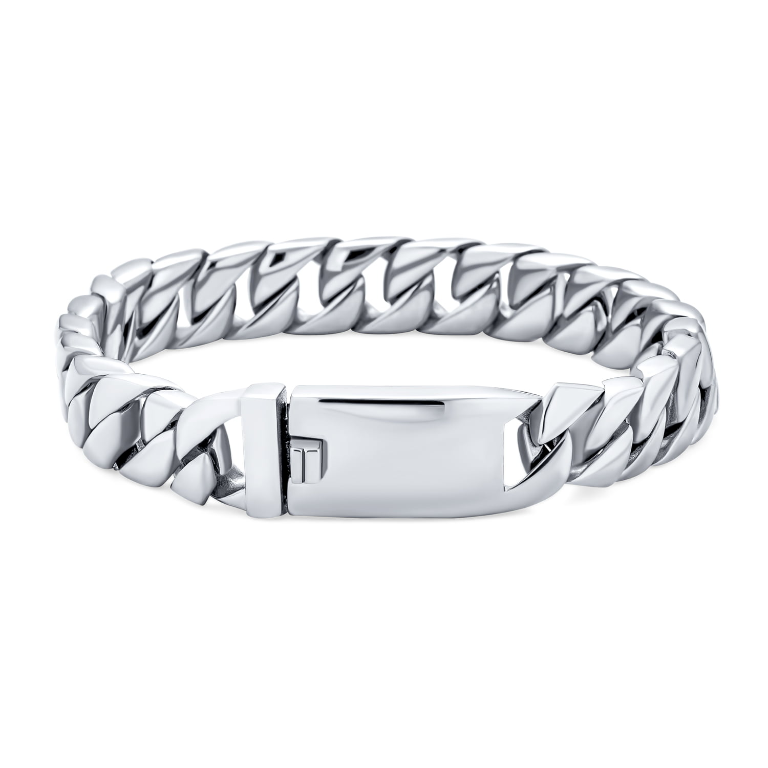 Men/'s Stainless Steel Polished Silver Heavy Huge Curb Link Chain Bracelet