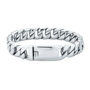 Personalize Large Strong Heavy Solid Flat Miami Cuban Curb Chain Link Bracelet for Men Teens Polished Silver Or Gold Tone Stainless Steel 8 8.5 9 Inch Customizable Engrave 10MM