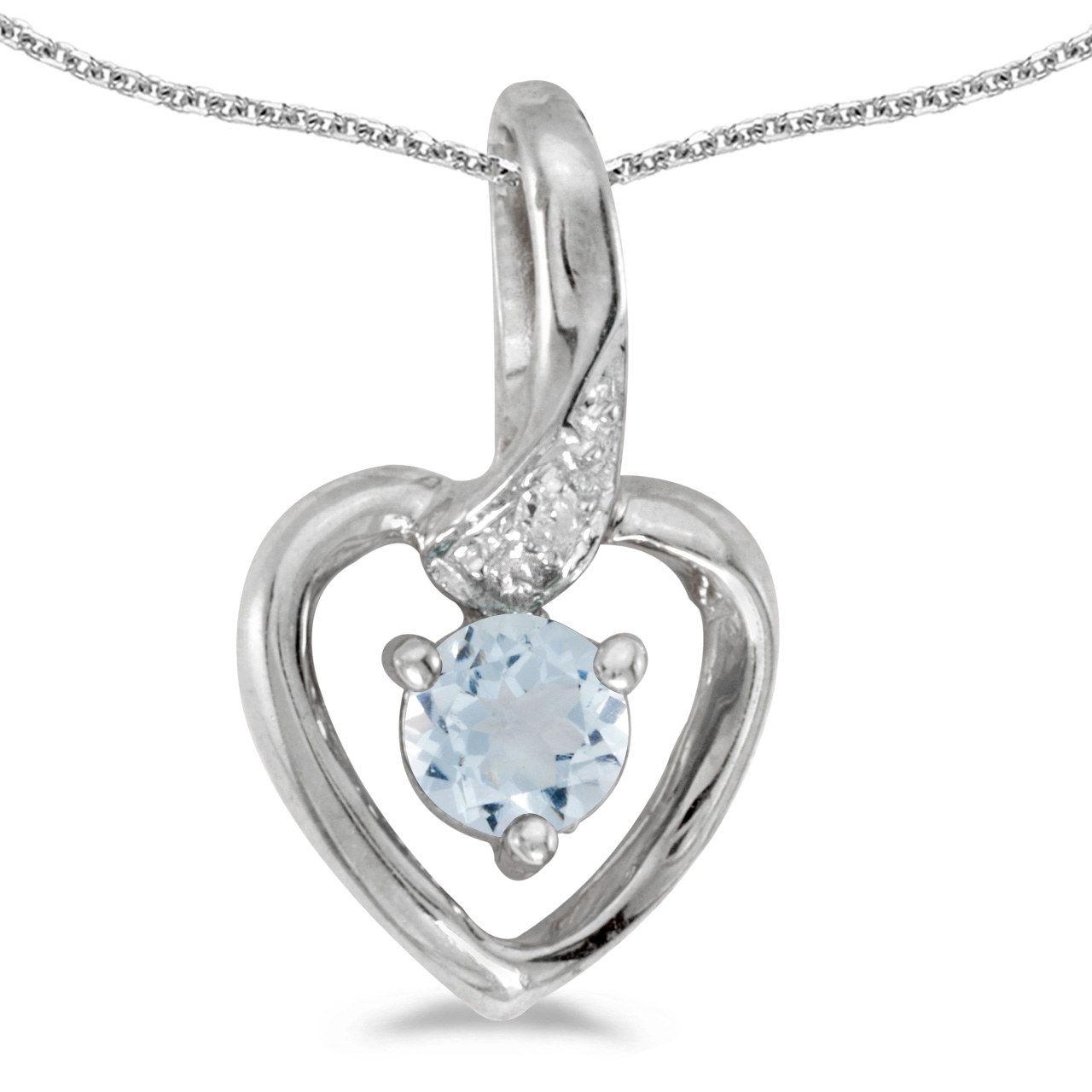 "10k White Gold Round Aquamarine And Diamond Heart Pendant with 18"" Chain by"