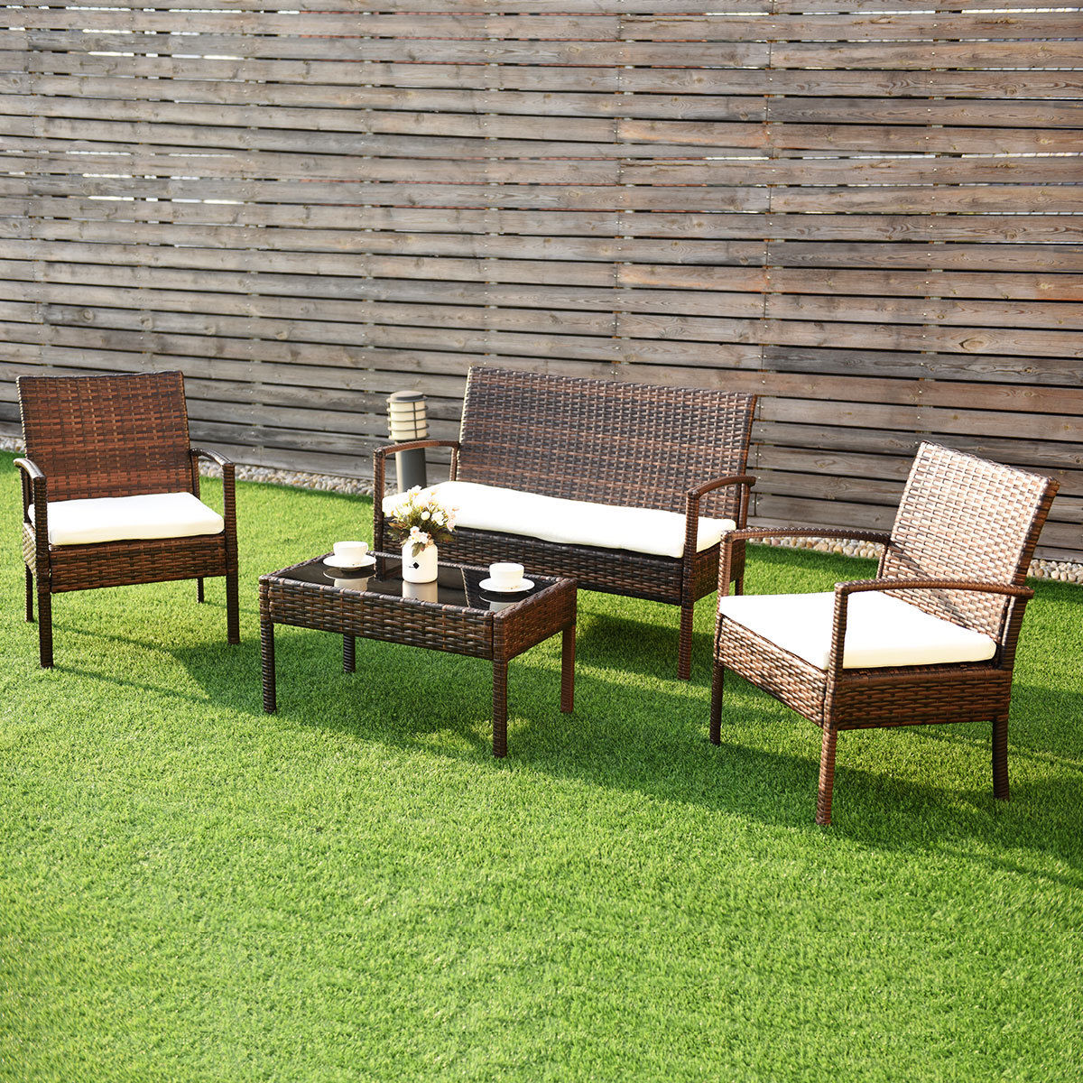 Costway 4 Pc Rattan Patio Furniture Set Garden Lawn Sofa Wicker Cushioned Seat brown by Costway