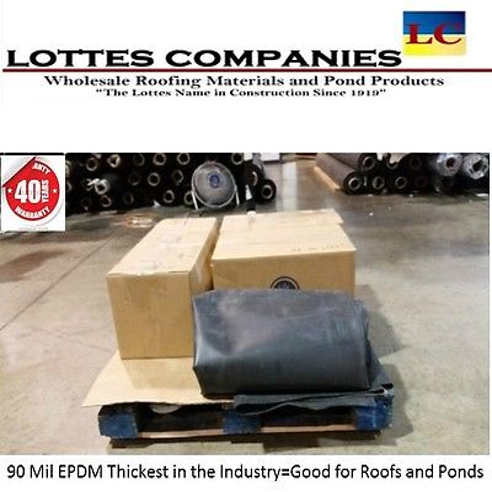 10' x 50' BLACK  90 MIL UNIVERSAL ROOF LINER & POND LINER EPDM RUBBER 50' Epdm Rubber Liner