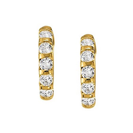 Large Cubic Zirconia Hoop Earrings for Women in Bar with 14K Yellow Gold 2.00 CT TGW - image 1 of 2
