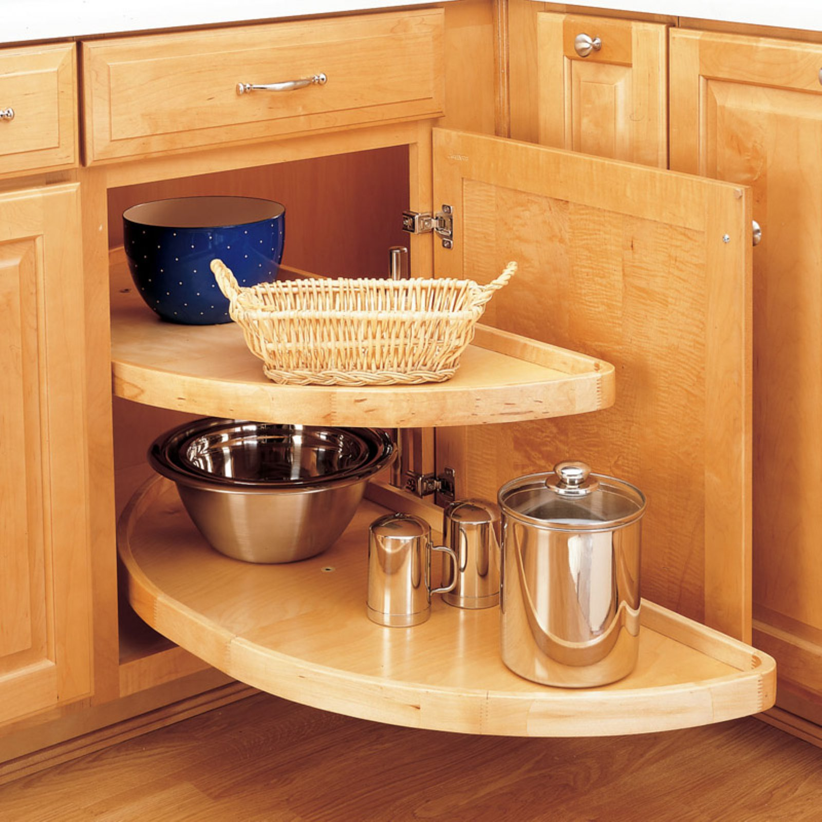 Rev-a-Shelf Wood Half Moon 2 Shelf Lazy Susan