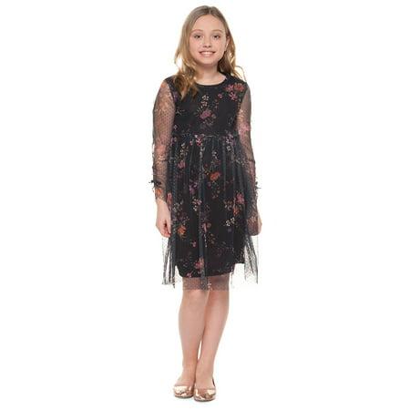 b901d3e92a Dex - Girl s Floral Dotted-Mesh Dress - Walmart.com