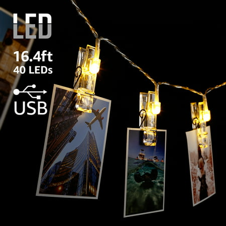 TORCHSTAR 16.4ft 40 LEDs Photo Clip String Lights, 2700K Soft White (Larger Photo Light)