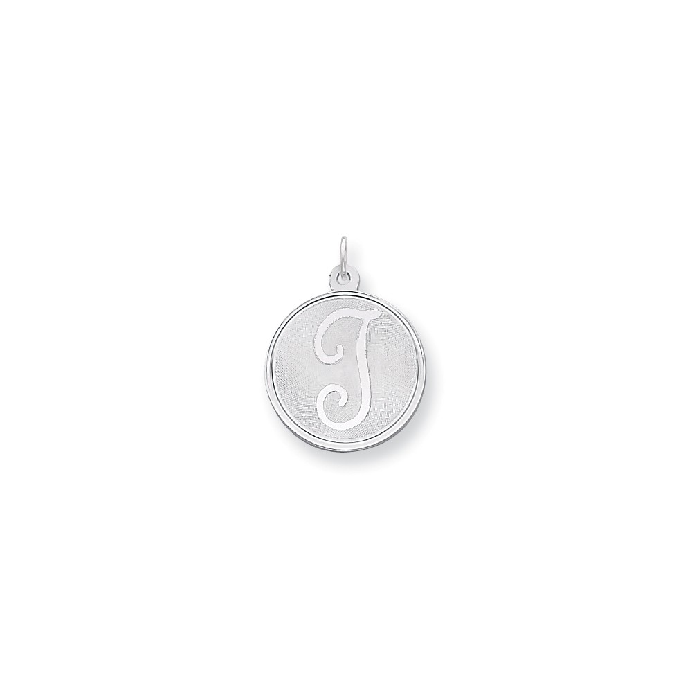 Sterling Silver Engravable Brocaded Initial T Charm (1.1in long x 0.8in wide)