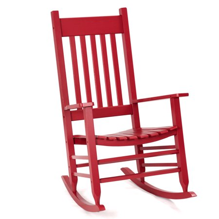 GHP 300-Lbs Capacity Glossy Red Robinia Wood Patio Porch High Back Rocking -