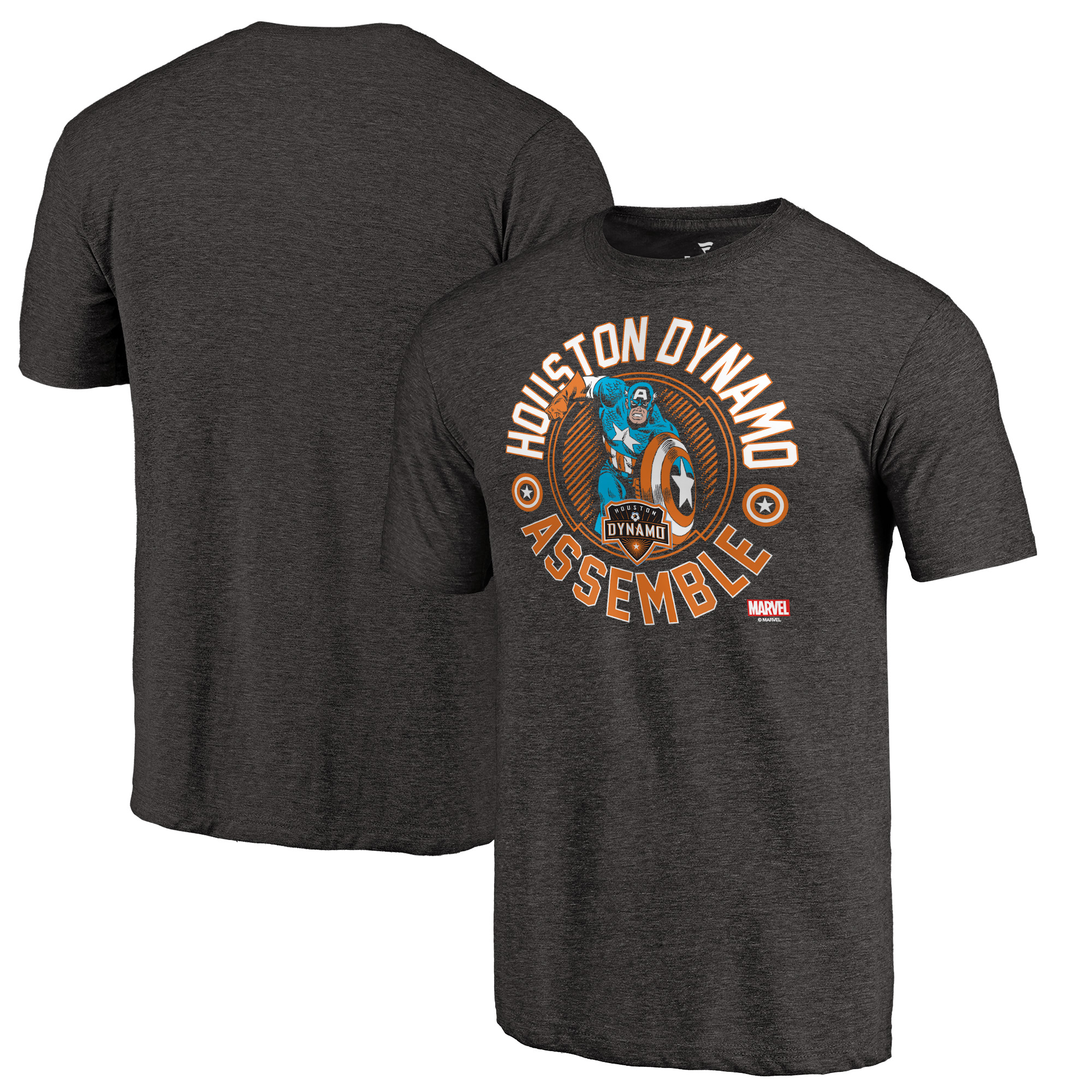 Houston Dynamo Fanatics Branded Marvel To the Captain Tri-Blend T-Shirt - Black