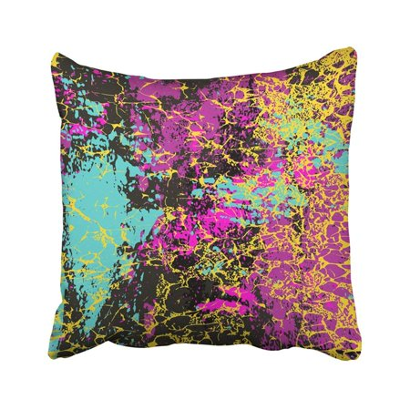 ARTJIA Tribal Colored Graffiti Stains On Black Grunge Abstract Bohemian Brush Color Creative Pillowcase Throw Pillow Cover 18x18 inches