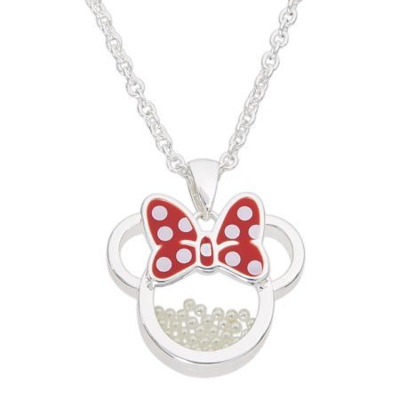 Minnie Mouse June Birthstone Silver Plated Shaker Pendant Necklace, 18+2 Extender (Disney Necklaces)