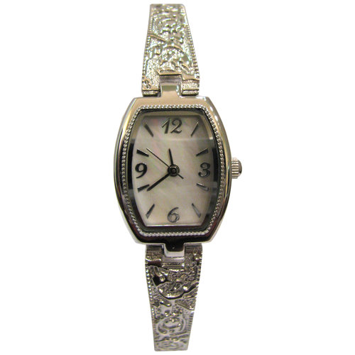 Women's Casual Dress Barrel Case White Dial Watch, Silver-Tone Band