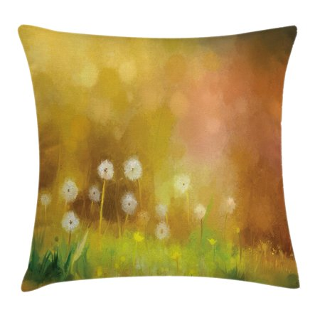 Watercolor Flower Home Decor Throw Pillow Cushion Cover, Dandelion Wild Nature Pastel Grass Spring Floral Art Theme, Decorative Square Accent Pillow Case, 20 X 20 Inches, Yellow Green, by Ambesonne - Green And Yellow Theme