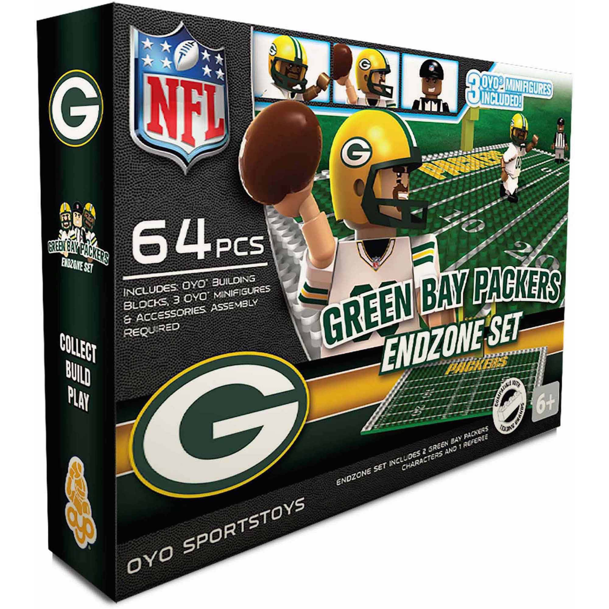 OYO Sports 64-Piece NFL End Zone Building Block Set, Green Bay Packers