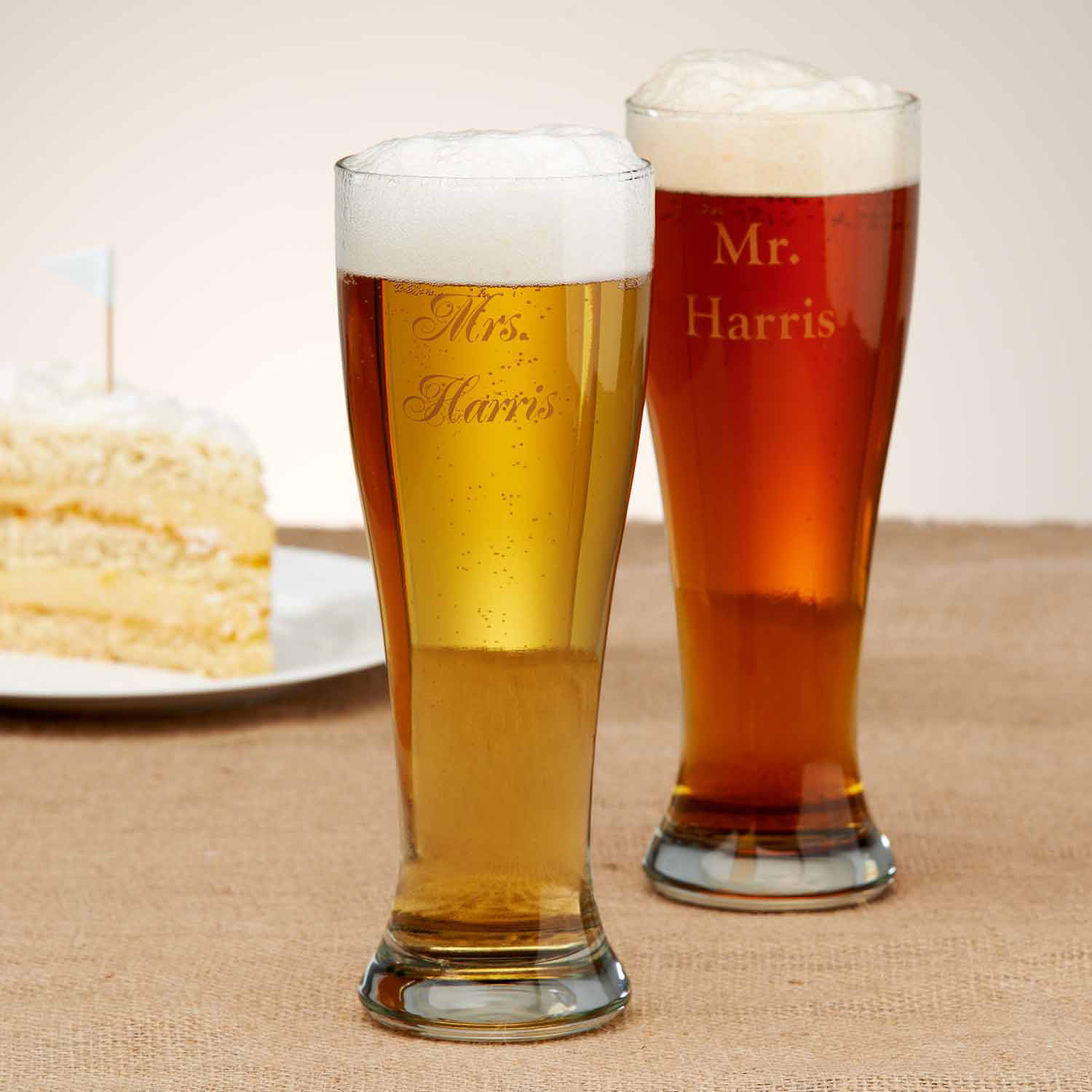 Personalized Mr. and Mrs. Pilsner, Set of 2