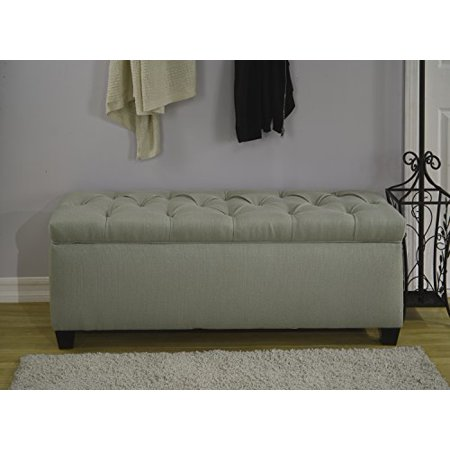 The Sole Secret Seafoam Diamond Tufted Shoe Storage Bench,
