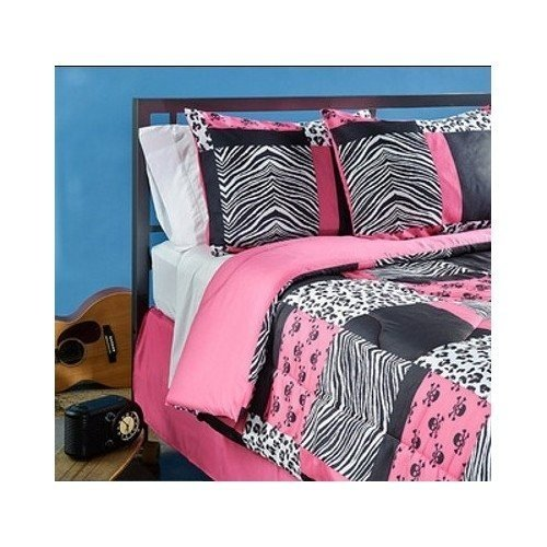 Teen Pink Zebra Bedding. 4 Piece Pink Black and White Bed in a Bag Full Size Set Is Perfect for a Teenage Girl Bedroom. Mini Skull, Zebra, Cheetah Print Patchwork Design. Comforter Blanket Set