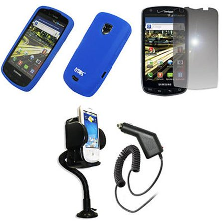 Empire Vents Mirror - EMPIRE Blue Silicone Skin Case Cover + 360 Degree Rotatable Car Windshield Mount with Air Vent Attachment + Mirror Screen Protector + Car Charger (CLA) for Verizon Samsung Droid Charge
