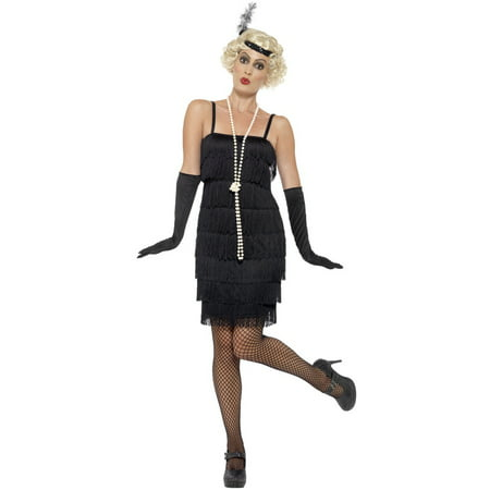 Short Flapper Dress Adult Costume (Black) (Halloween Costumes With Long Black Dresses)