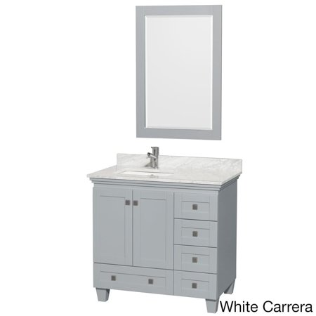 Acclaim 36 inch Single Bathroom Vanity in Oyster Gray, White Carrera Marble Countertop, Undermount Square Sink, and 24 inch -