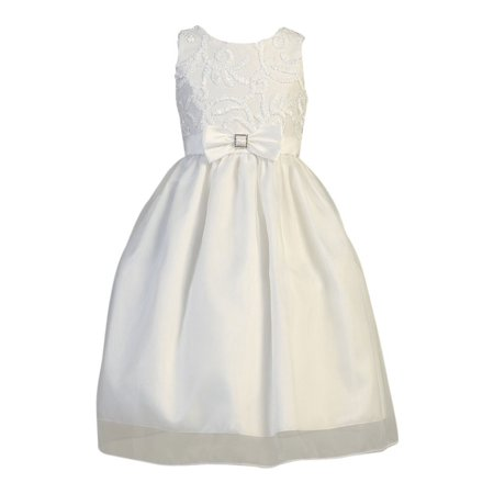 Girls White Ribbon Tulle Taffeta Bow Holly Communion Dress](Holly Golightly Dress)