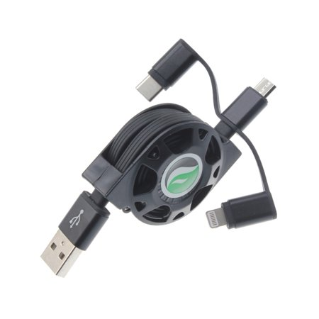 3-in-1 USB Cable Retractable Compatible With Samsung Galaxy Grand Prime Express Prime Avant Amp 2 Alpha A6 A5 - Verizon Ellipsis 8 HD - Xiaomi Redmi Note 6 Pro 5, Mi Mix 2 - ZTE ZMax Pro Z981