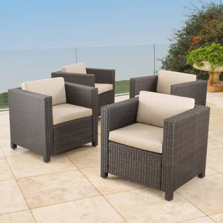 Murano Patio Wicker Club Chairs with Water Resistant Cushions - Set of 4 ()