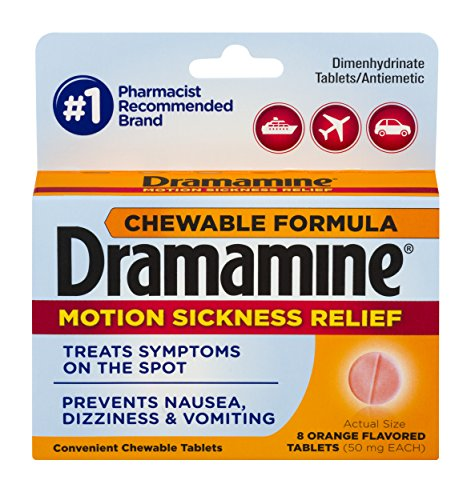 2 Pack Dramamine Motion Sickness Relief, Chewable Tablets Orange Flavor, 8 each