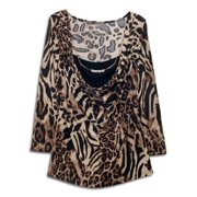 eVogues Plus size Layered Long Sleeve Top With Necklace Detail Animal Print
