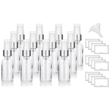(Clear Glass Boston Round Silver White Treatment Pump Bottle - 1 oz (12 Pack) + Funnel and Labels)