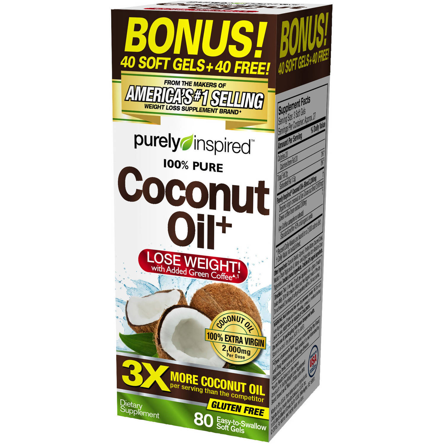 Purely Inspired 100% Pure Coconut Oil Dietary Supplement Soft Gels, 80 count