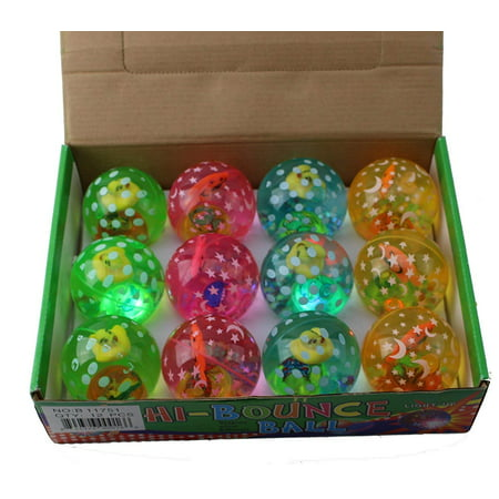 12 pcs LED Light Up Bounce Balls - Flashing Rubber Bouncy Balls for Kids Party Fun, Aquatic Themed Packs 12-Pack -